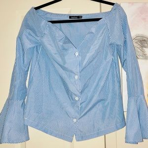Off Shoulder Bell Sleeve Stripe Button Up Shirt